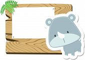 baby rhino blank sign board
