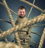 stock photo of cocoon  - Businessman trapped in rope web - JPG
