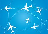 image of jet  - vector image of white silhouettes of jet airplanes - JPG