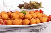 picture of dauphin  - fried potato ball with salad - JPG