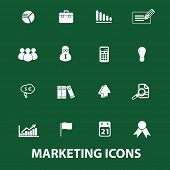 marketing, market, business icons, signs set, vector