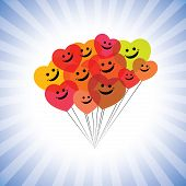 Happy Kids Faces(hearts) As Flying Kites- Simple Vector Graphic