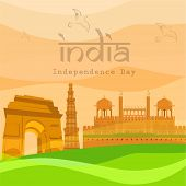 Indian Independence Day background with famous monuments India Gate, Kutubminar and Red Fort.