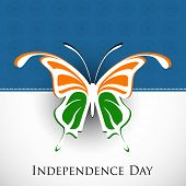 Indian Independence Day background with butterfly in national flag tricolors.