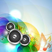 Vector illustration for musical theme with speakers on colorful  background, can be use as a banner or flyer in disco and party .
