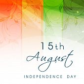 Indian Independence Day concept with text 15th August on national flag tricolors background.