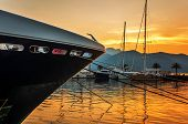 Sailing boats in marina at sunset. Tivat. Montenegro
