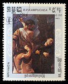 KAMPUCHEA - CIRCA 1984: A stamp printed in Kampuchea (Cambodia) shows a painting, circa 1984