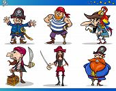 stock photo of peg-leg  - Cartoon Illustrations Set of Fairytale or Fantasy Pirates or Corsairs Mascot Characters - JPG