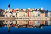 Famous View Of Saone River In Lyon City