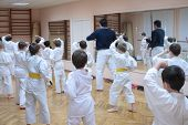 Karate Boys Training In Sport Hall