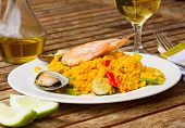 Dining with paella dish