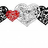 Black and white ornamental  hearts  border pattern