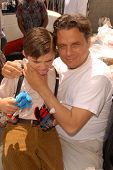 Presley Chapa and father Damian Chapa on the set of the third day of shooting
