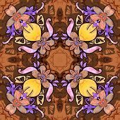 Heart with flowers. Seamless kaleidoscopic pattern