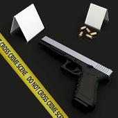 Generic Gun At Crime Scene With Police Tape