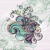 Floral Grunge Background With Waves, Clouds, Plants And Birds. Eps10