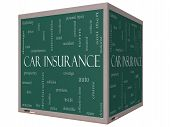 Car Insurance Word Cloud Concept On A 3D Cube Blackboard