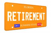 3D Retirement Florida License Plate