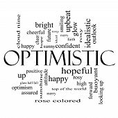 Optimistic Word Cloud Concept In Black And White