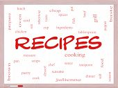 Recipes Word Cloud Concept On A Whiteboard