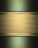 Abstract green Background with gold nameplate for writing.