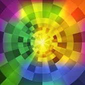 Vector abstract radiant multicolor tunnel background