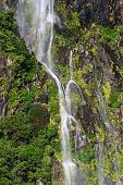 A small waterfall at Milford Sound New Zealand