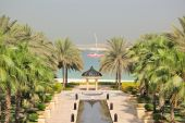 View On Jumeira Palm From Luxurious Hotel, Dubai, Uae