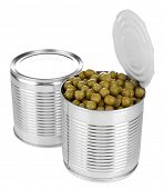 Canned peas in opened tin, isolated on white