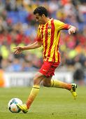 BARCELONA - MARCH, 29: Pedro Rodriguez Ledesma of FC Barcelona in action during a Spanish League match against RCD Espanyol at the Estadi Cornella on March 29, 2014 in Barcelona, Spain