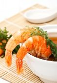 Spicy Shrimp Soup On White Background