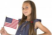 Cute Brunette Girl Holding An American Flag Smiling