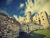 Vintage Retro Style Ruins Of Castle.