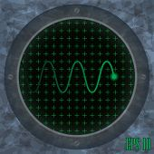 Oscilloscope screen with green wavy trace.