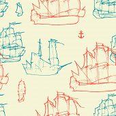 Nautical vintage seamless pattern
