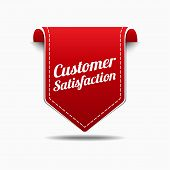 Customer Satisfaction Red Label Icon Vector Design