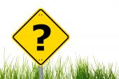 stock photo of question-mark  - question concept with interrogation mark on roadsign - JPG