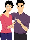 Illustration of a Disappointed Couple Holding a Pregnancy Test