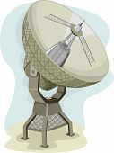 Illustration of a Radio Telescope Collecting Data