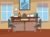 Illustration Featuring the Interior of a Principal's Office