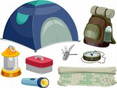 Illustration Featuring Different Camping Tools