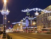 St. Petersburg, Nevskiy Prospectus Street At Night