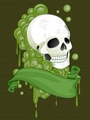 Illustration of a Tattoo Design Featuring a Skull with a Green Ribbon Wrapped Around it