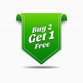 Buy 2 Get 1 Green Label Icon Vector Design