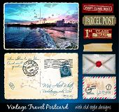 Santa Cruz Travel Vintage Postcard Design with antique look and distressed style. Includes a lot of