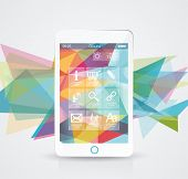 pic of parallelepiped  - Perfectly detailed modern smart phone with geometric background - JPG