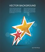 Two Gold Stars. Vector Cinema Background.