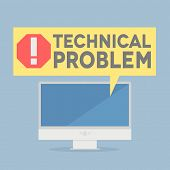 minimalistic illustration of a monitor with a technical problem speech bubble, eps10 vector