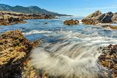 Pacific Ocean Currents Rush Into Bay With Bubbles